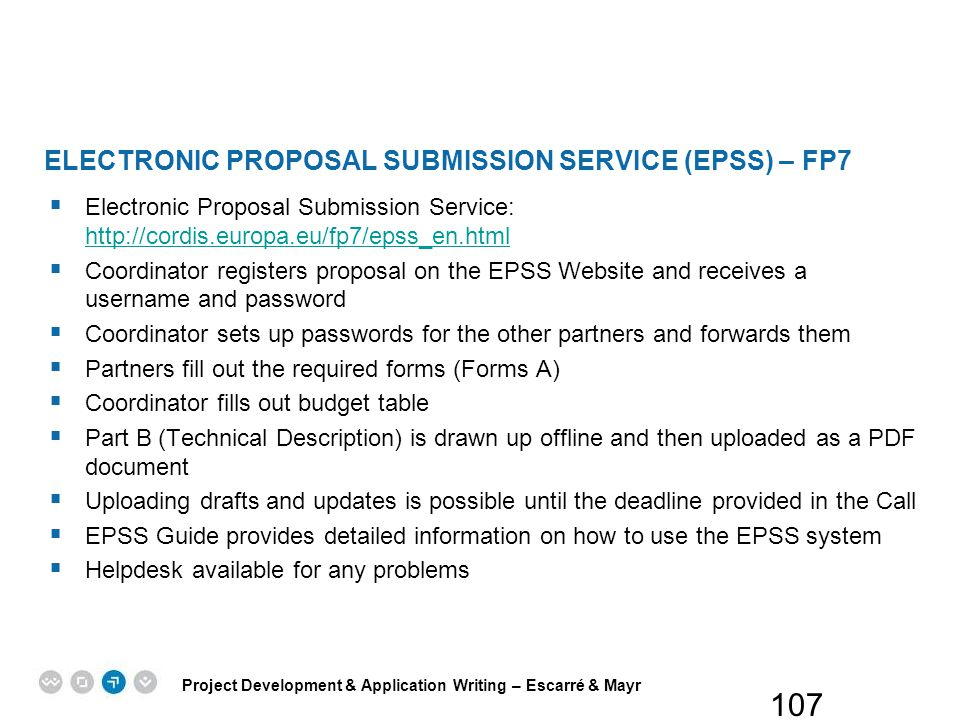 ELECTRONIC PROPOSAL SUBMISSION SERVICE (EPSS) – FP7