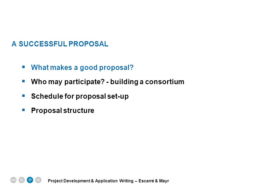 A SUCCESSFUL PROPOSAL What makes a good proposal Who may participate - building a consortium. Schedule for proposal set-up.