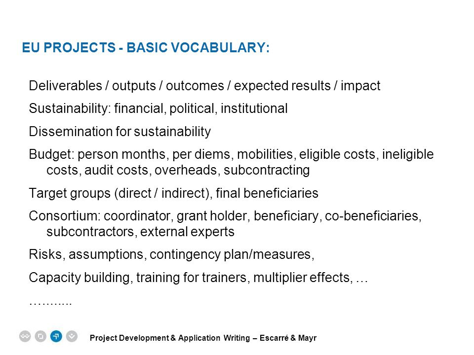 EU PROJECTS - BASIC VOCABULARY: