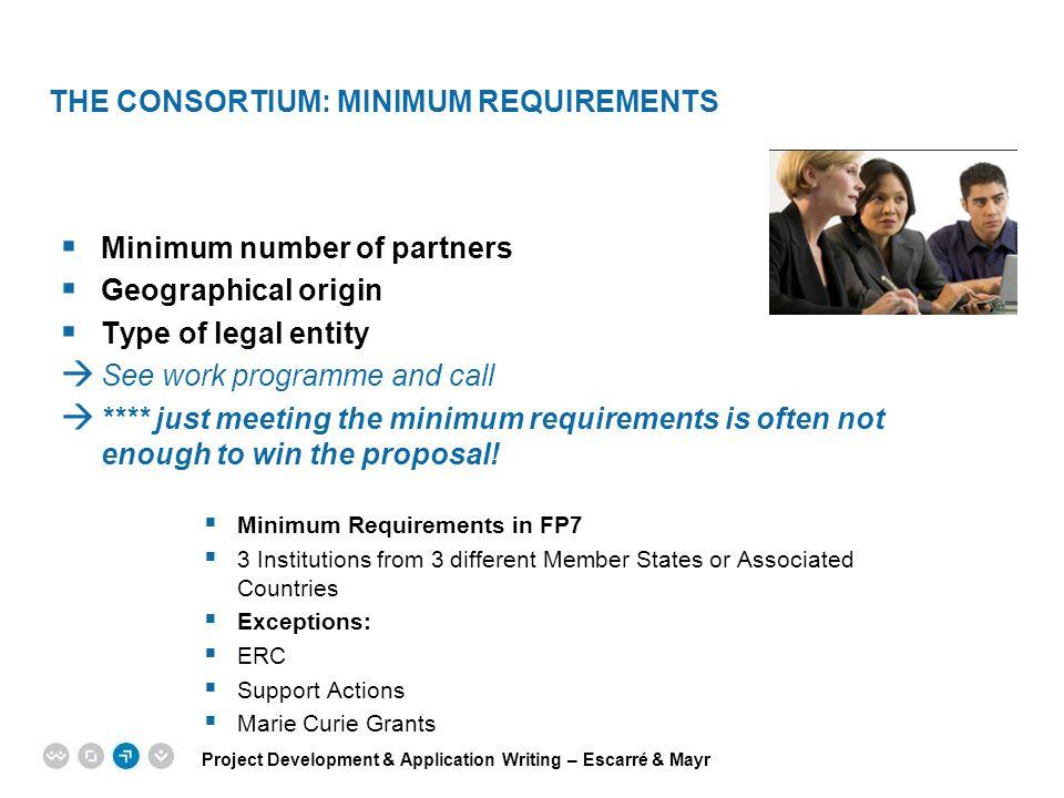 THE CONSORTIUM: Minimum Requirements