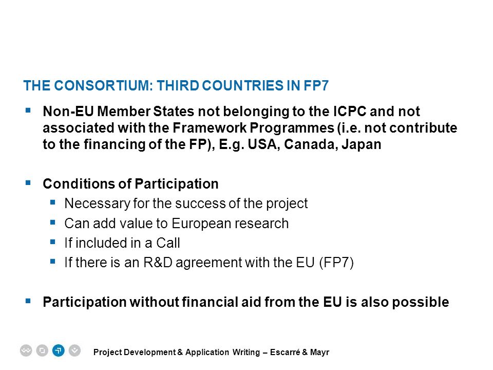 THE CONSORTIUM: Third Countries in FP7