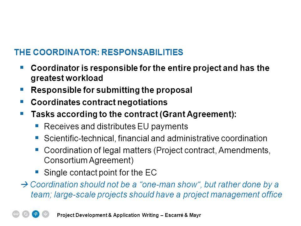 The Coordinator: Responsabilities