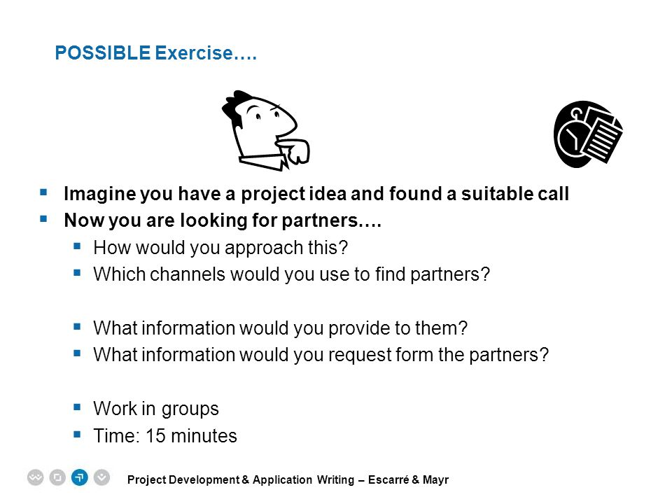 POSSIBLE Exercise…. Imagine you have a project idea and found a suitable call. Now you are looking for partners….
