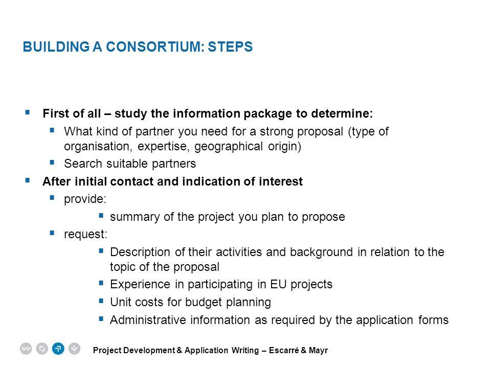 Building a consortium: Steps