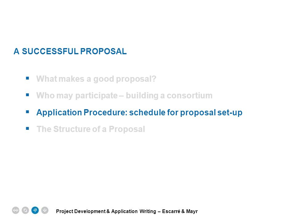 A SUCCESSFUL PROPOSAL What makes a good proposal Who may participate – building a consortium. Application Procedure: schedule for proposal set-up.