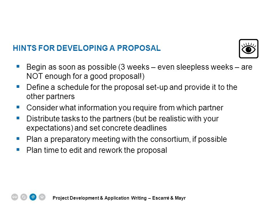 Hints for developing a proposal