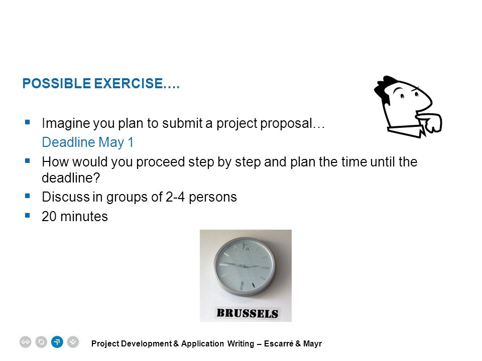 POSSIBLE EXERCISE…. Imagine you plan to submit a project proposal… Deadline May 1.