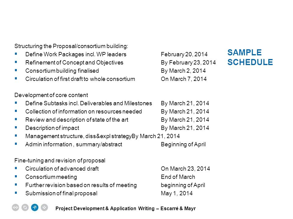 Sample schedule Structuring the Proposal/consortium building: