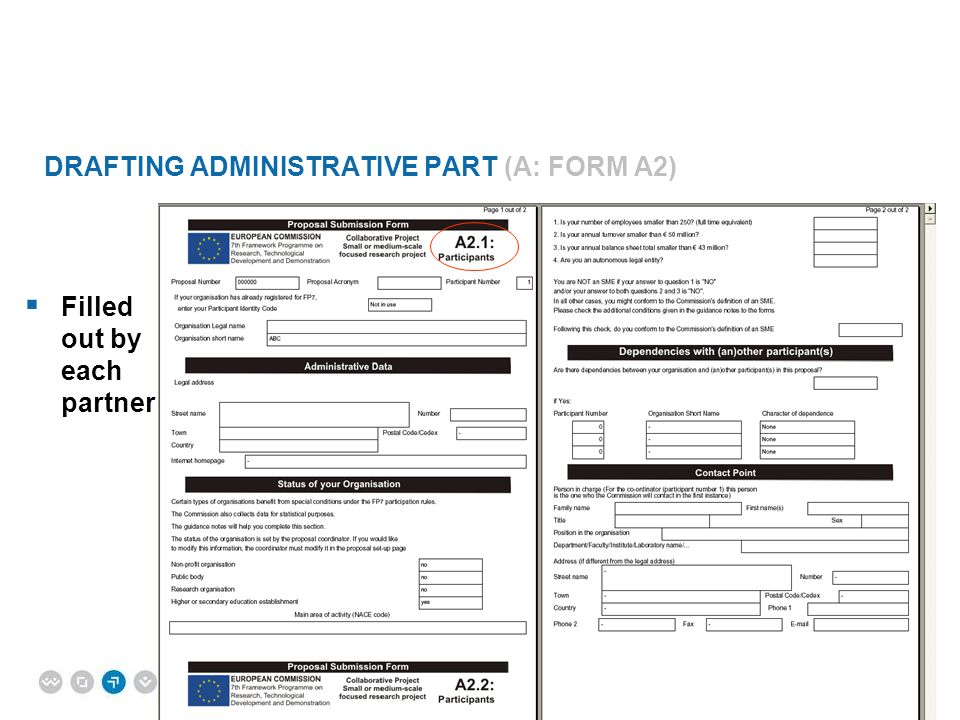 Drafting Administrative Part (A: Form A2)