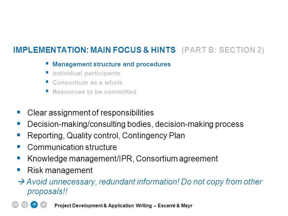 Implementation: main focus & hints (Part B: Section 2)