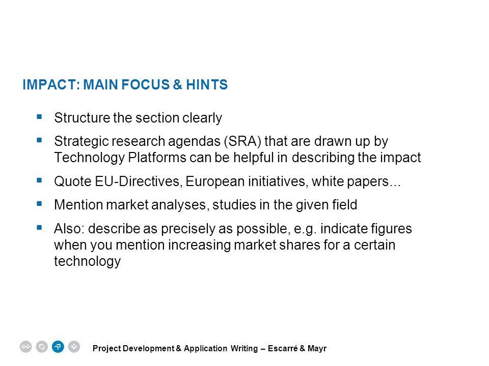 Impact: main focus & hints
