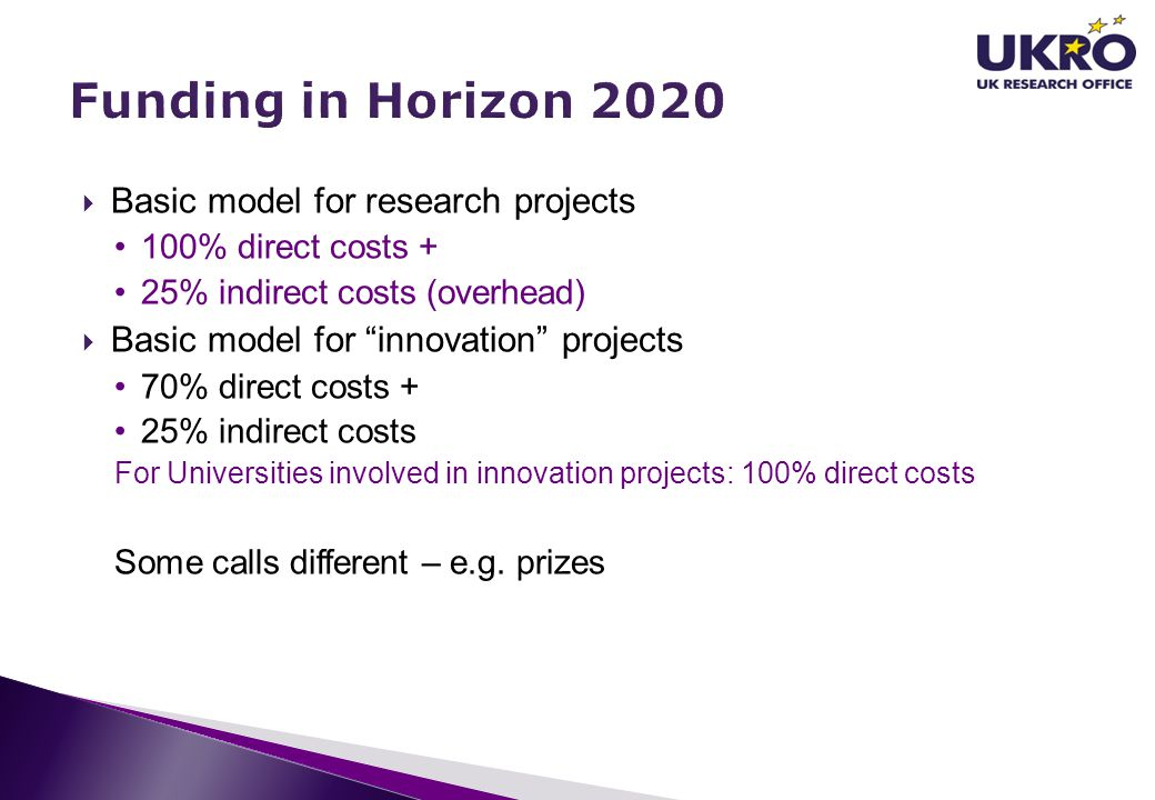 Funding in Horizon 2020 Basic model for research projects