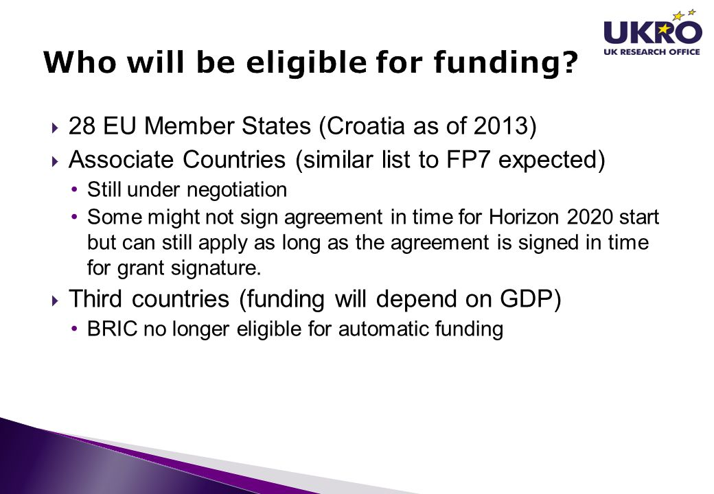Who will be eligible for funding