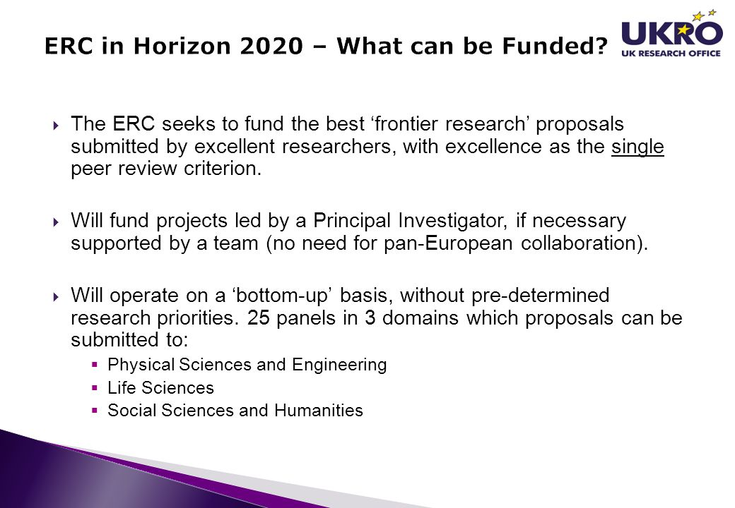 ERC in Horizon 2020 – What can be Funded
