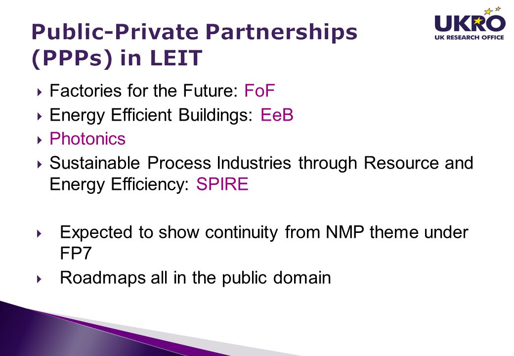 Public-Private Partnerships (PPPs) in LEIT