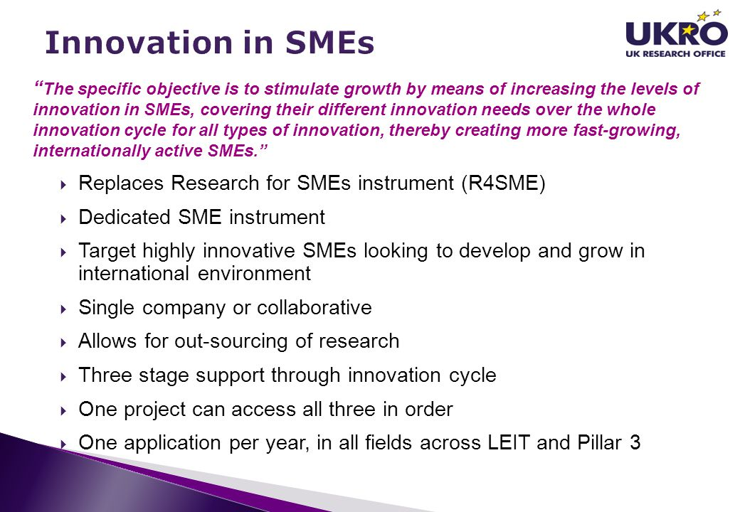 Innovation in SMEs Replaces Research for SMEs instrument (R4SME)