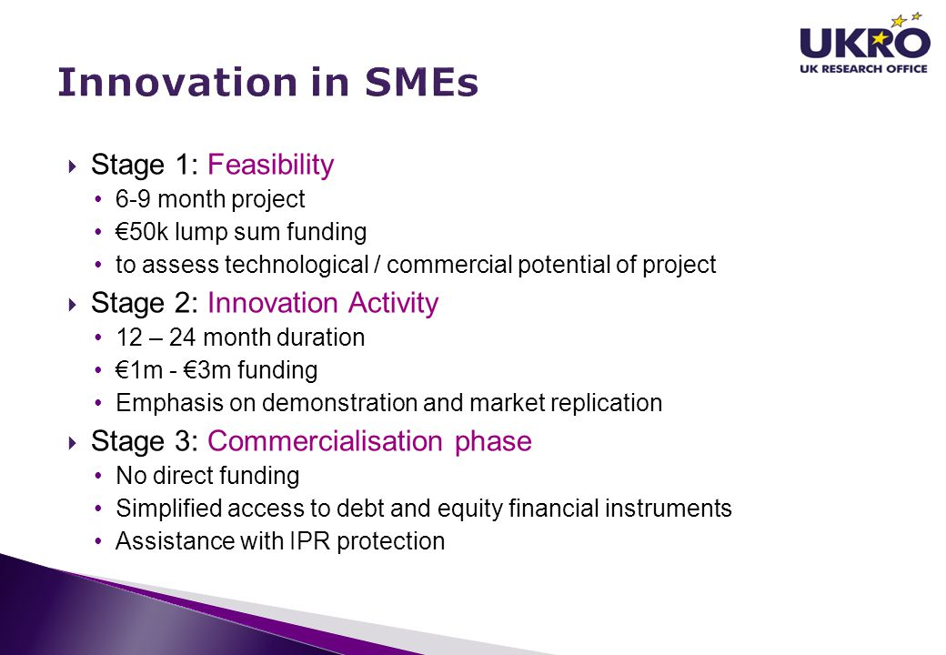 Innovation in SMEs Stage 1: Feasibility Stage 2: Innovation Activity
