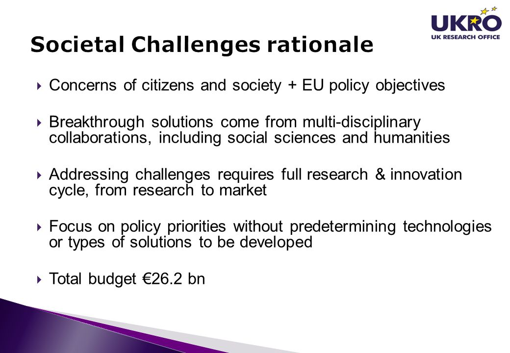 Societal Challenges rationale