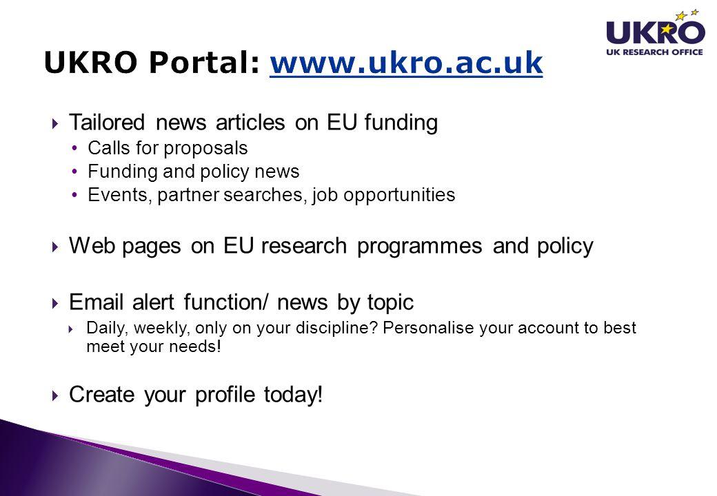 UKRO Portal: www.ukro.ac.uk
