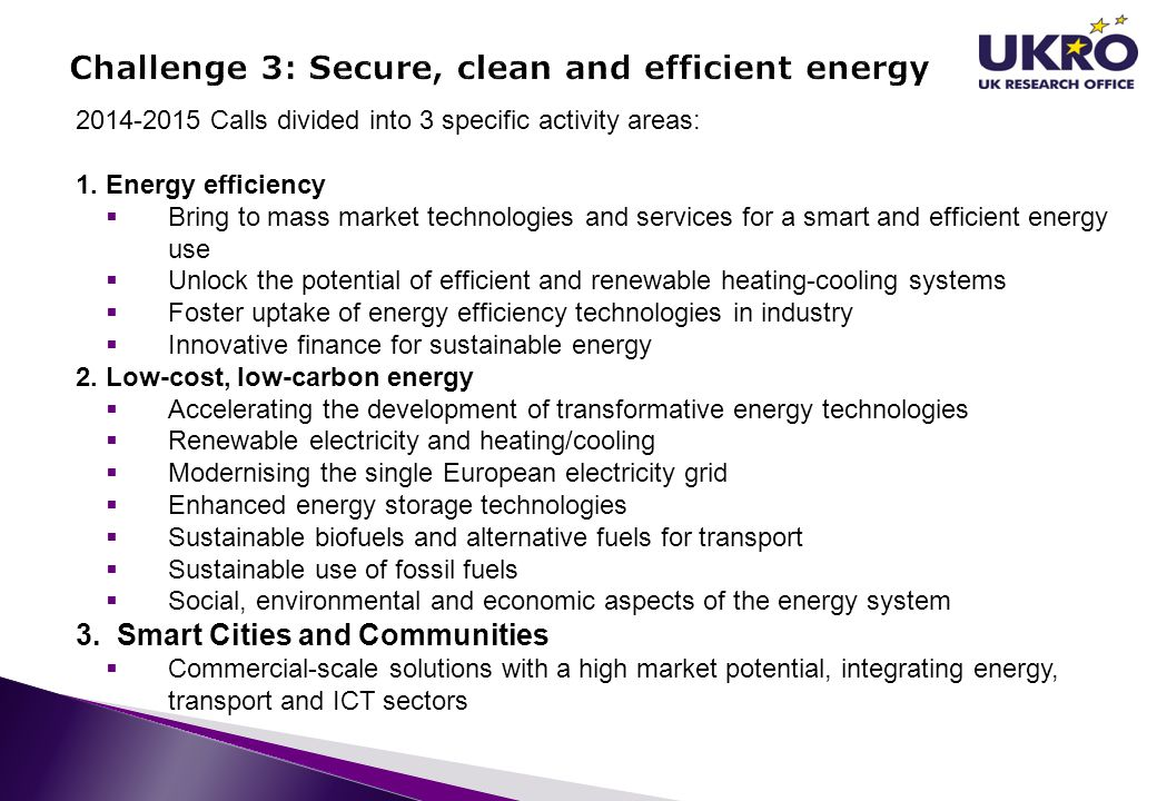 Challenge 3: Secure, clean and efficient energy
