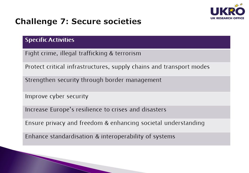 Challenge 7: Secure societies