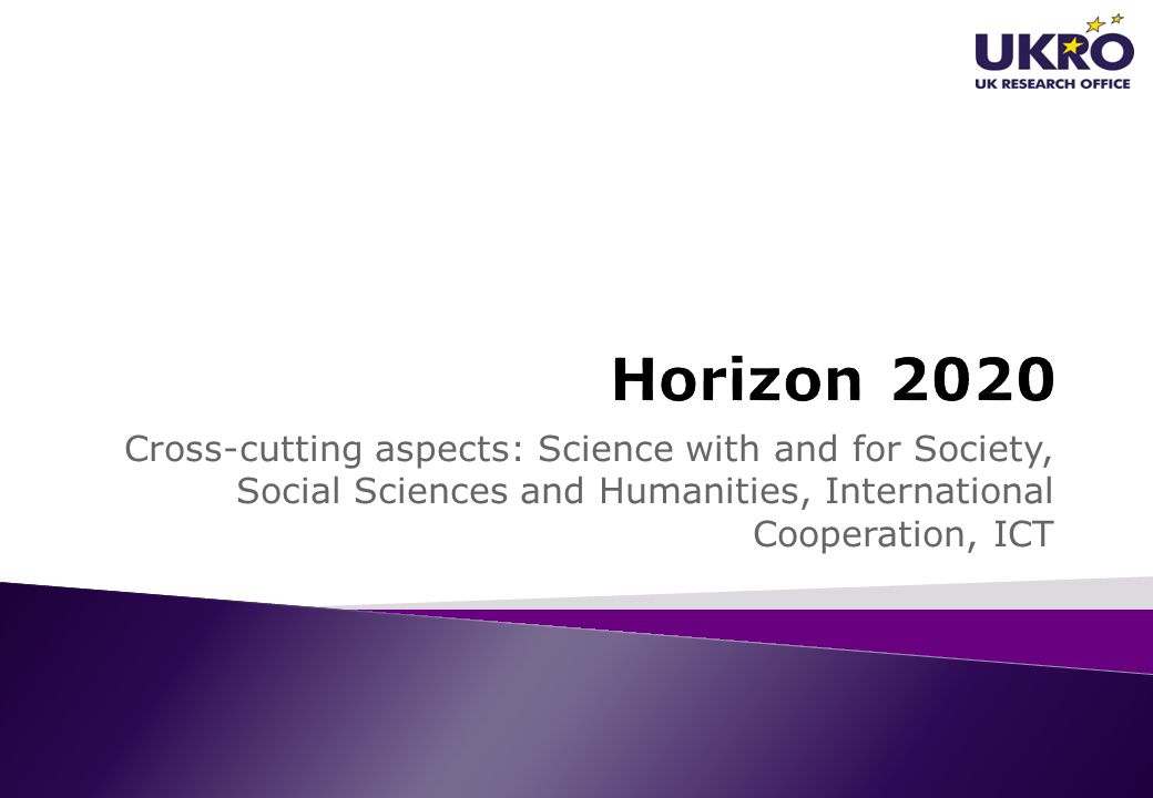 Horizon 2020 Cross-cutting aspects: Science with and for Society, Social Sciences and Humanities, International Cooperation, ICT.