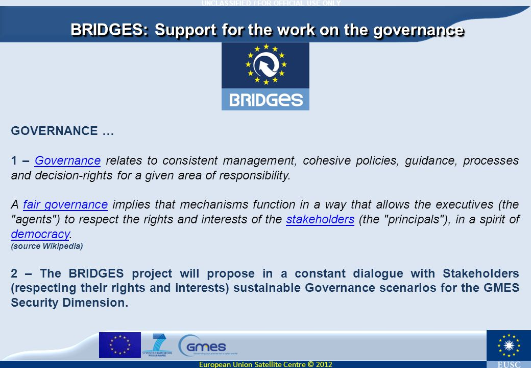 BRIDGES: Support for the work on the governance