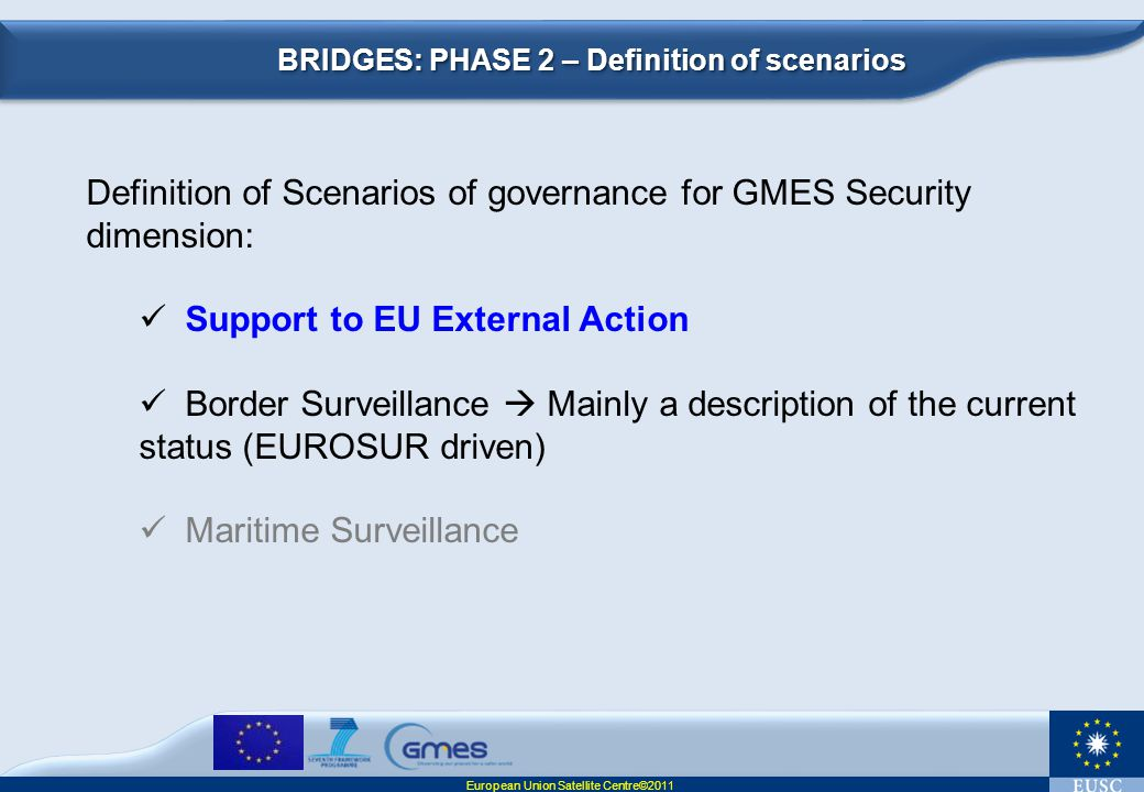 Definition of Scenarios of governance for GMES Security dimension:
