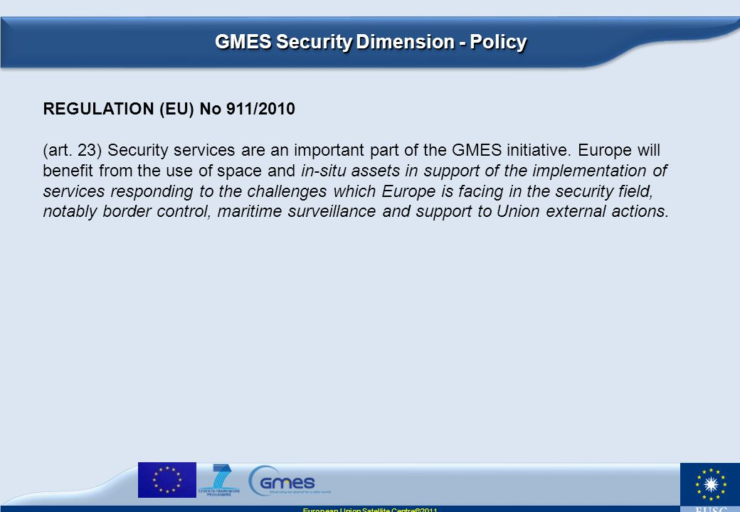 GMES Security Dimension - Policy