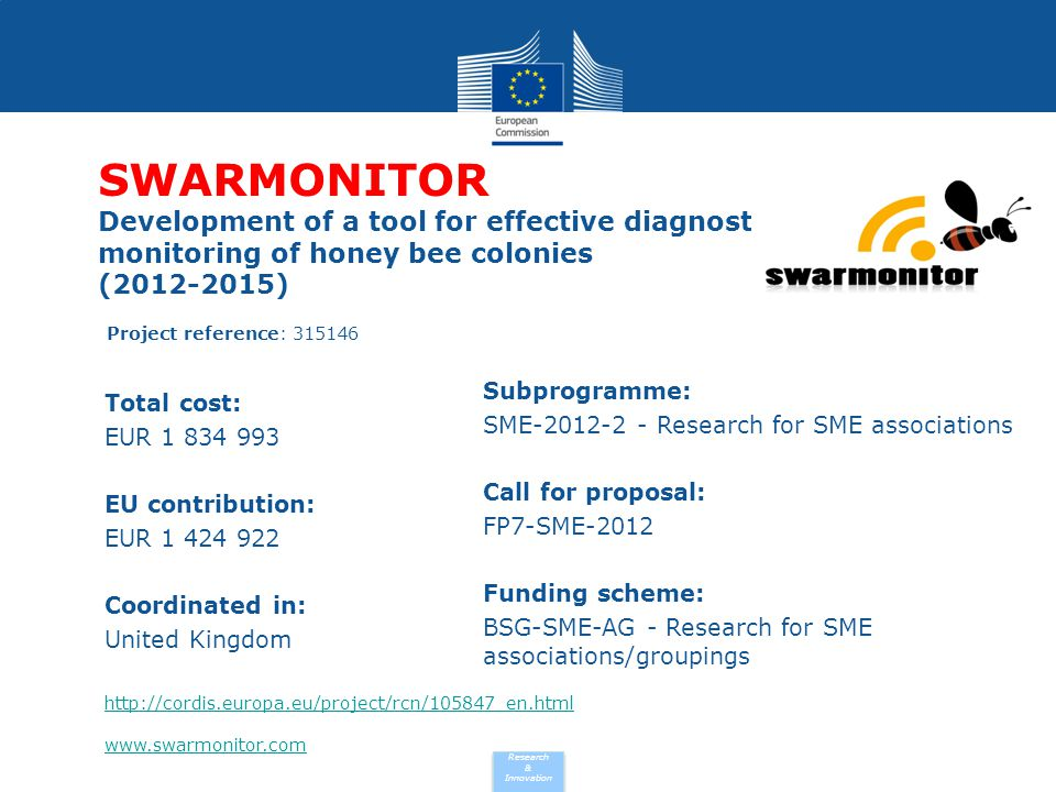 SWARMONITOR Development of a tool for effective diagnostic monitoring of honey bee colonies (2012-2015)