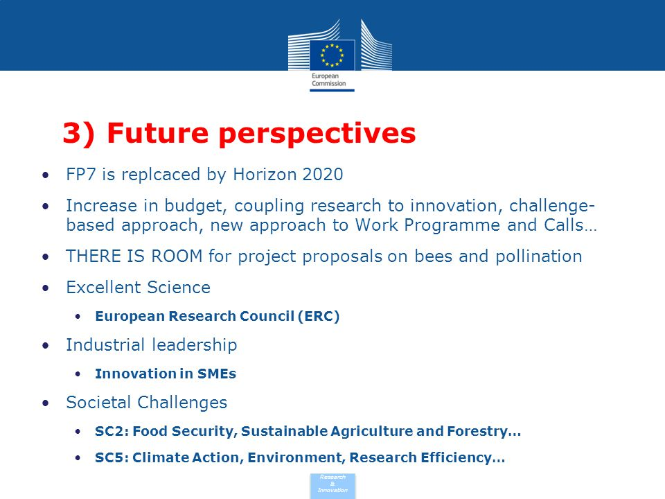 3) Future perspectives FP7 is replcaced by Horizon 2020