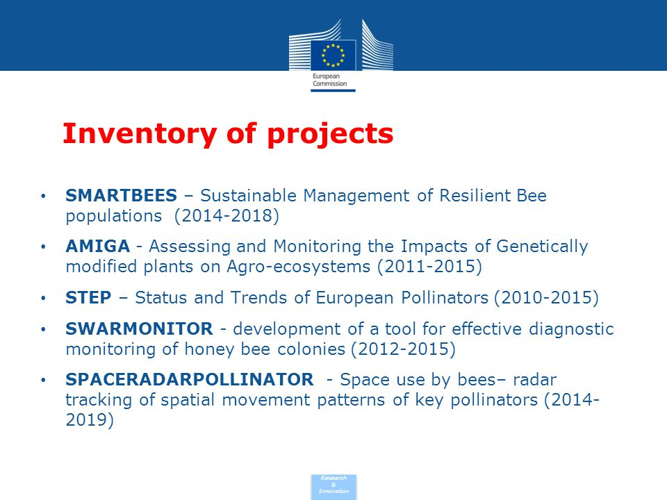 Inventory of projects SMARTBEES – Sustainable Management of Resilient Bee populations (2014-2018)