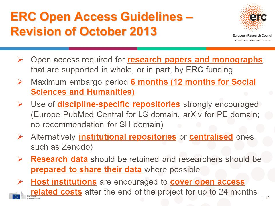 ERC Open Access Guidelines –Revision of October 2013