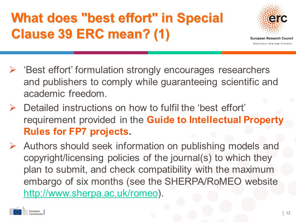 What does best effort in Special Clause 39 ERC mean (1)