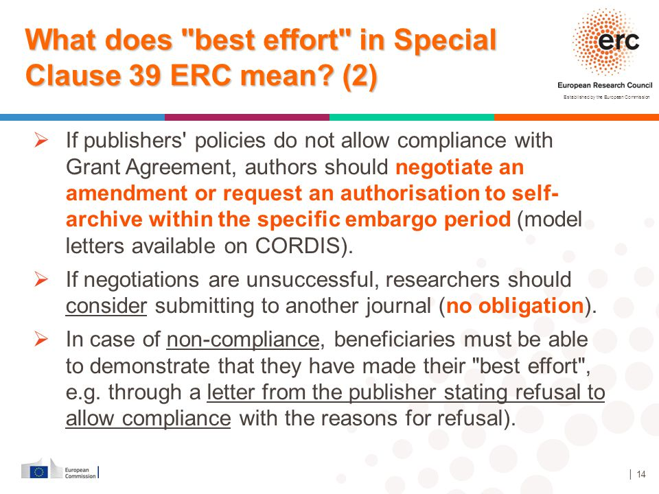 What does best effort in Special Clause 39 ERC mean (2)