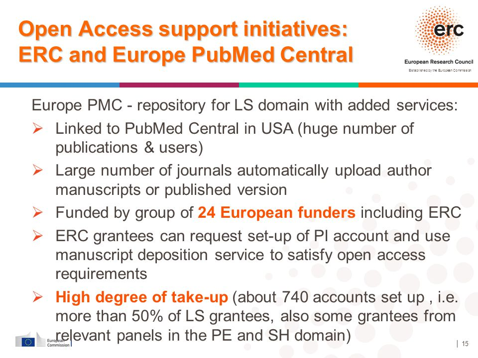 Open Access support initiatives: ERC and Europe PubMed Central