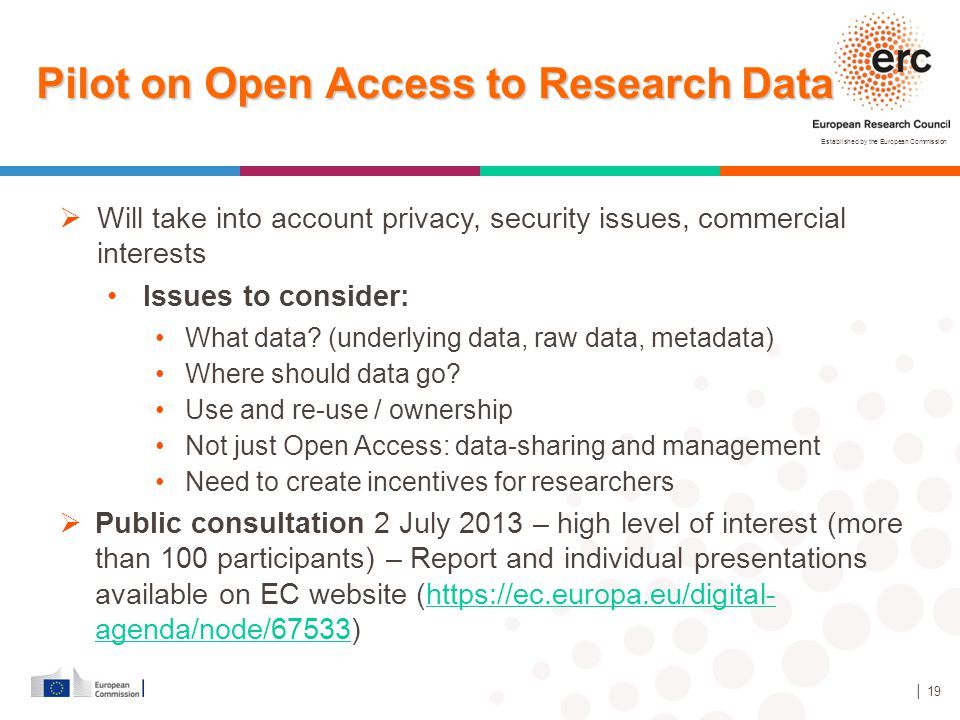 Pilot on Open Access to Research Data