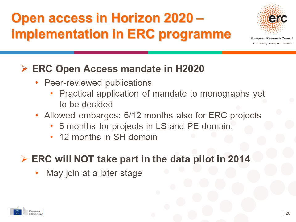 Open access in Horizon 2020 – implementation in ERC programme