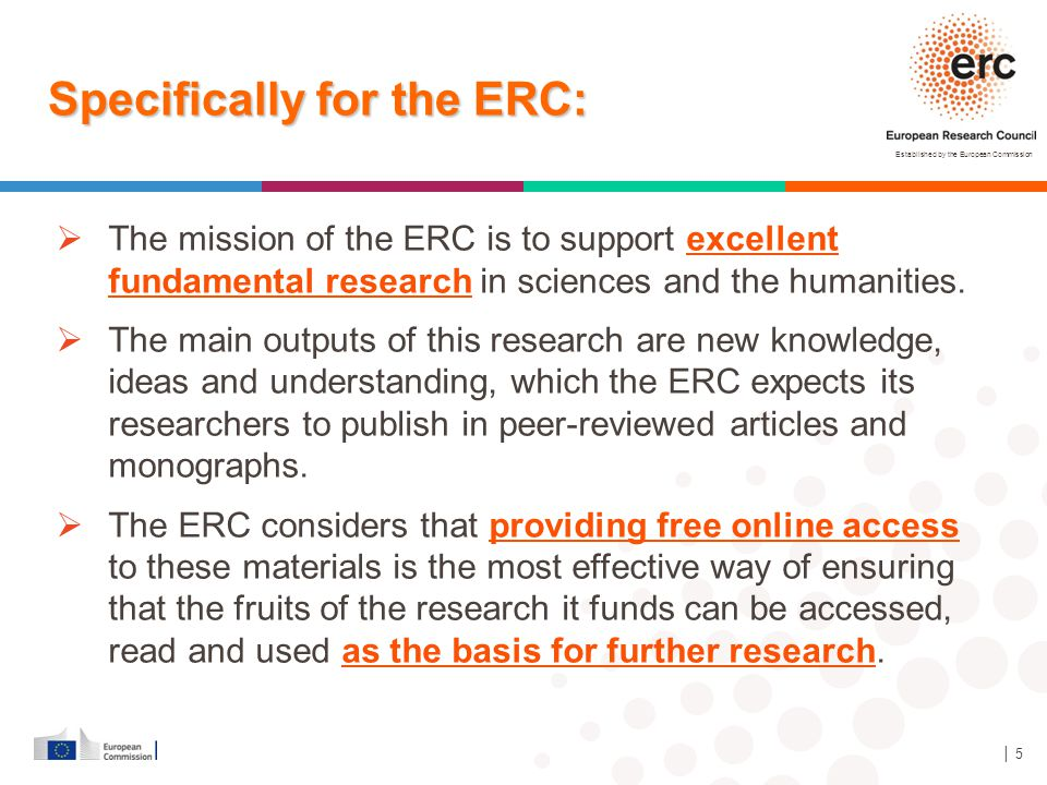 Specifically for the ERC: