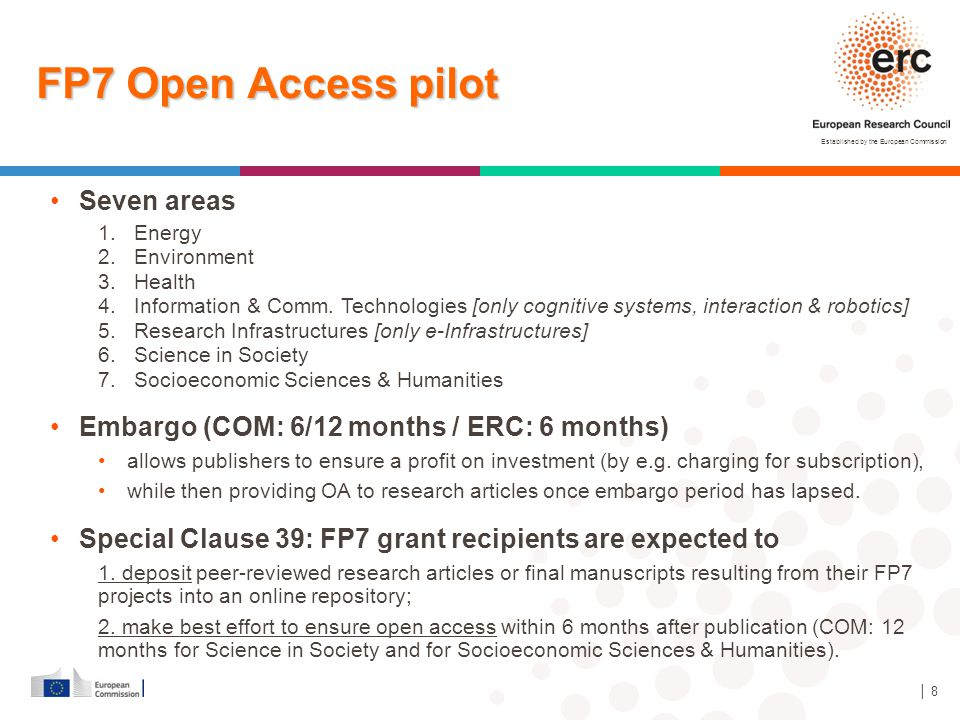 FP7 Open Access pilot Seven areas