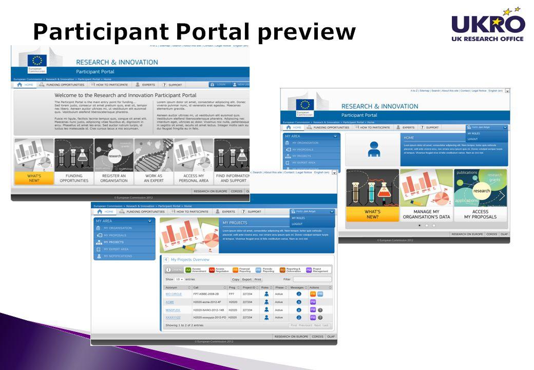 Participant Portal preview