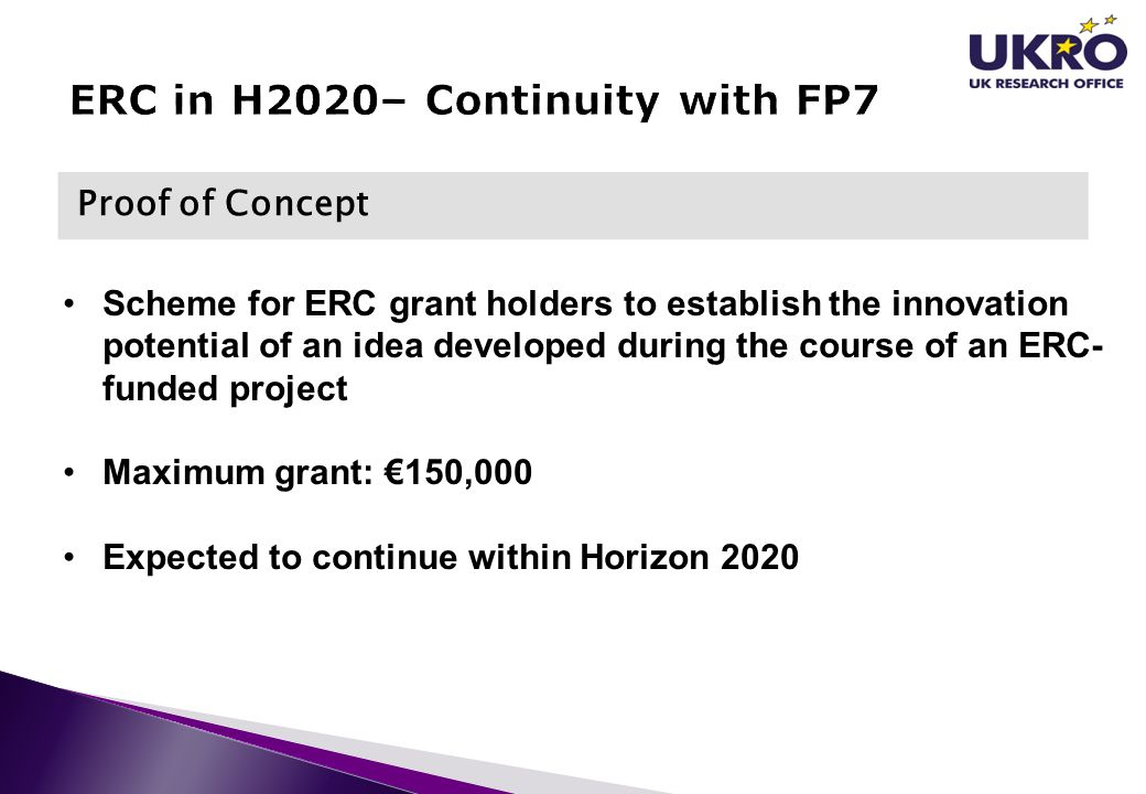 ERC in H2020– Continuity with FP7