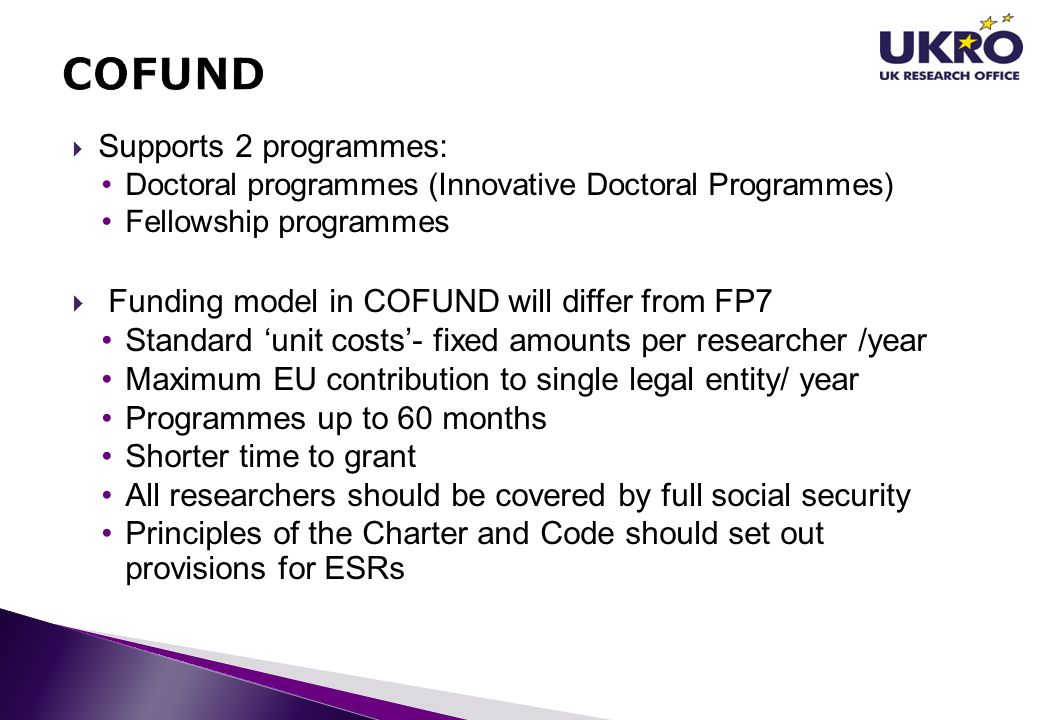 COFUND Funding model in COFUND will differ from FP7
