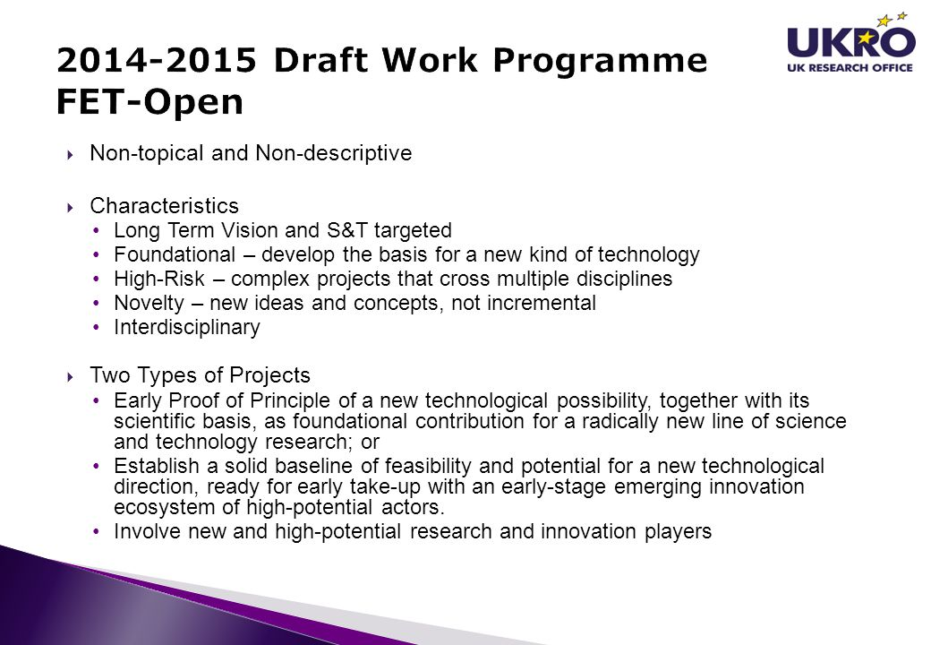2014-2015 Draft Work Programme FET-Open