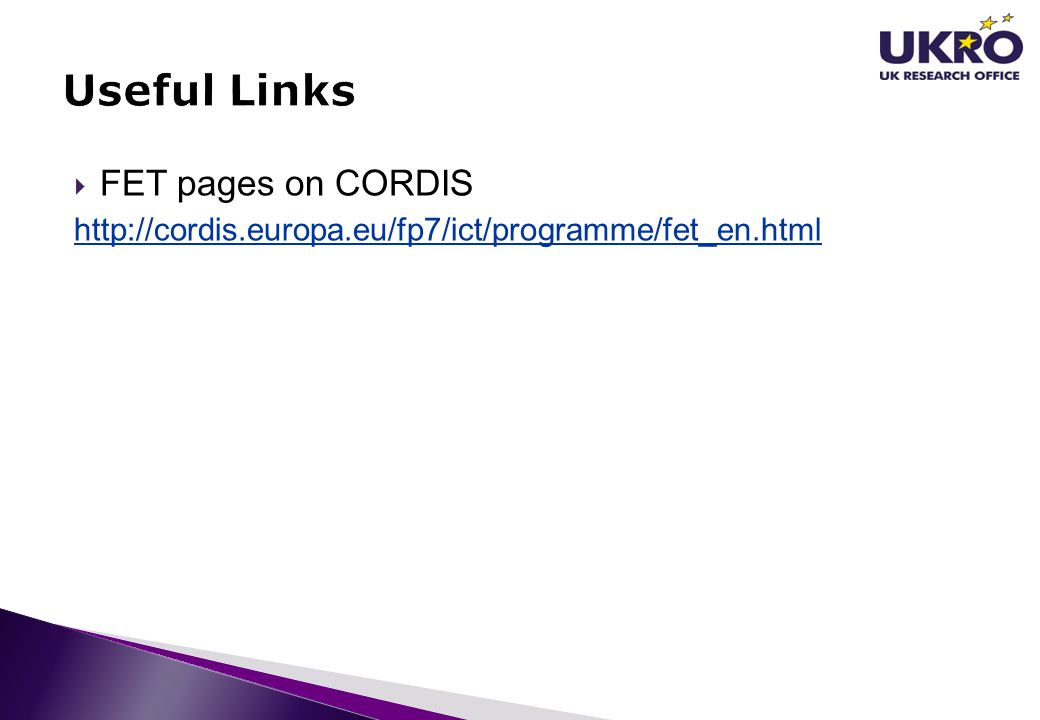 Useful Links FET pages on CORDIS