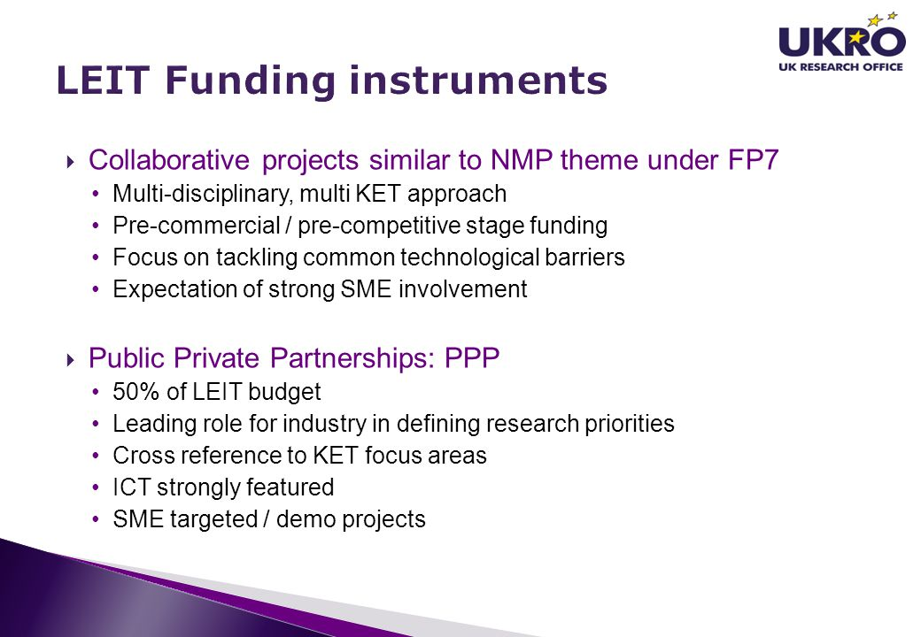 LEIT Funding instruments