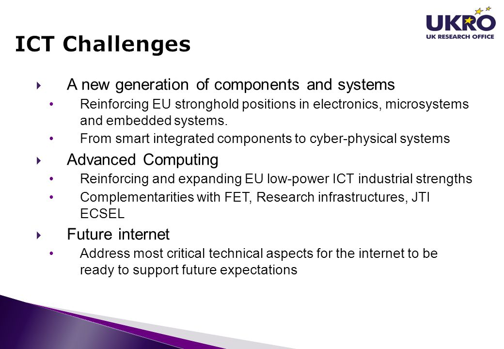 ICT Challenges A new generation of components and systems