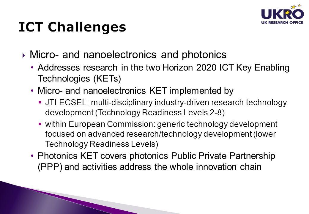 ICT Challenges Micro- and nanoelectronics and photonics
