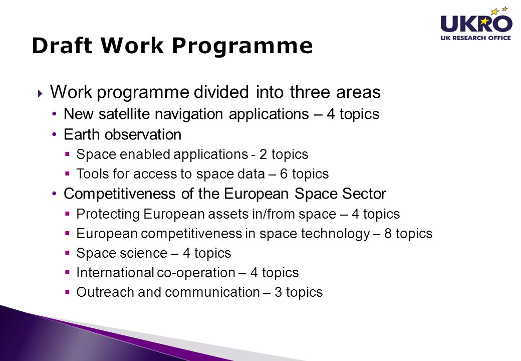 Draft Work Programme Work programme divided into three areas