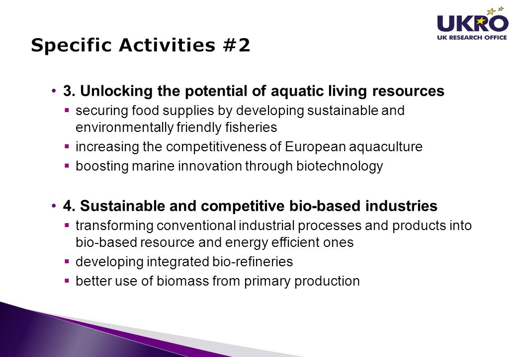 Specific Activities #2 3. Unlocking the potential of aquatic living resources.